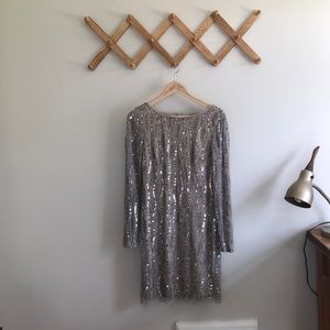 Adrianna Papell Sequin Long Sleeve Dress